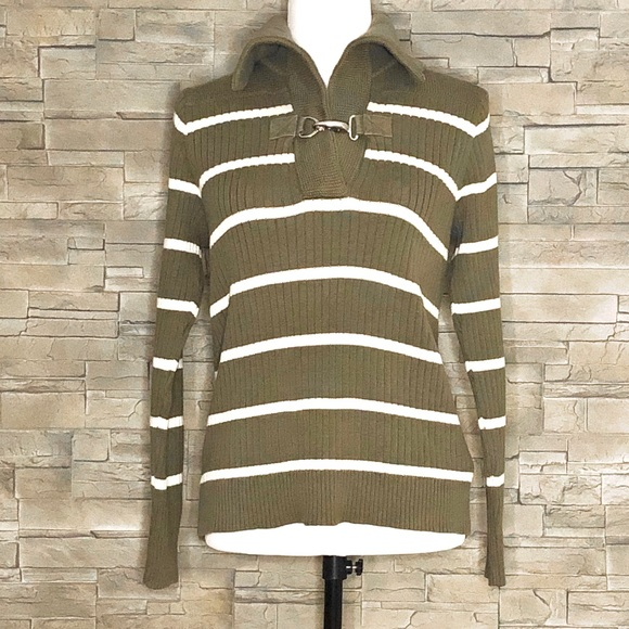 Ralph Laure olive and cream striped sweater